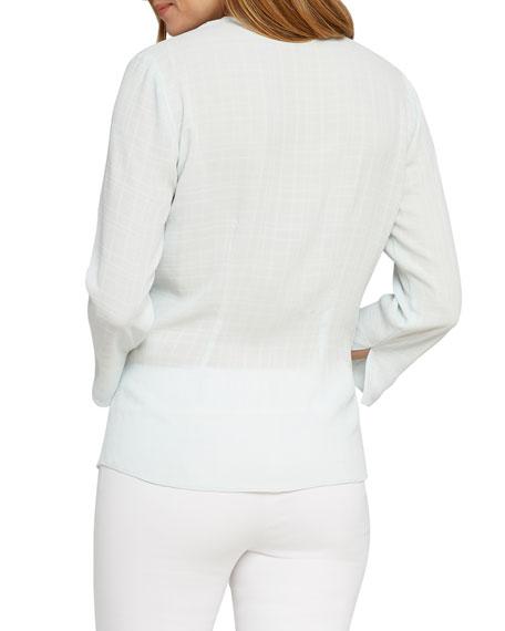 NIC+ZOE Petite Grid-Patterned Drape-Front Top