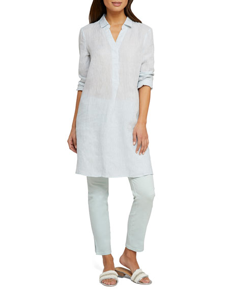 NIC+ZOE Plus Size Spring Time Long-Sleeve Linen Tunic Dress