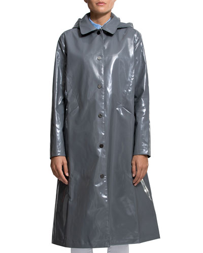 Hooded Snap-Front Long Rain Slicker Coat