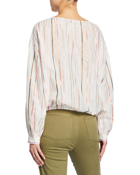 Joie Satomi Metallic Stripe Long-Sleeve Cotton Top