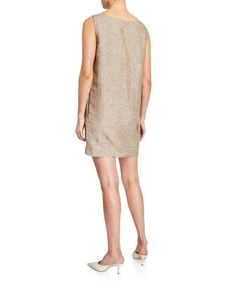 Theory Striped V-Neck Sleeveless Linen Shift Dress
