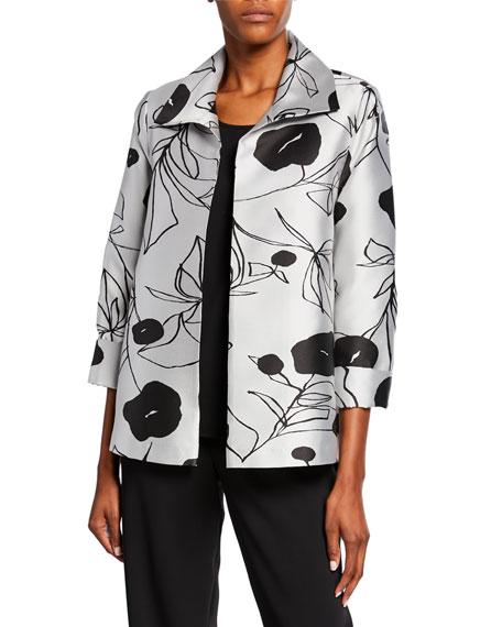 Caroline Rose Plus Size Retro Chic Floral Jacquard A-Line Jacket
