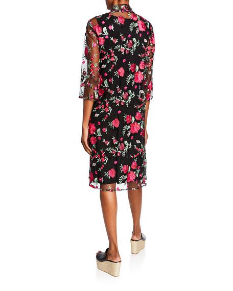 Caroline Rose Plus Size Rose Parade Embroidered Sheer Mesh Duster