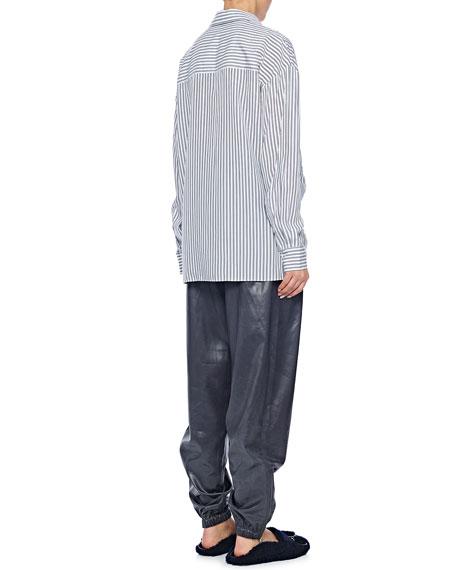Tibi Soft Stripe Shirt with Draped Front Detail