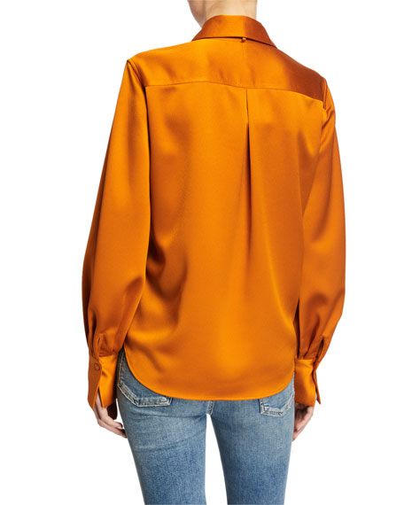 Equipment Didina Long-Sleeve Solid Blouse with Scarf