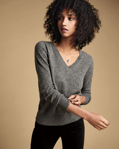 Neiman Marcus Cashmere Collection Basic Cashmere V-Neck Sweater