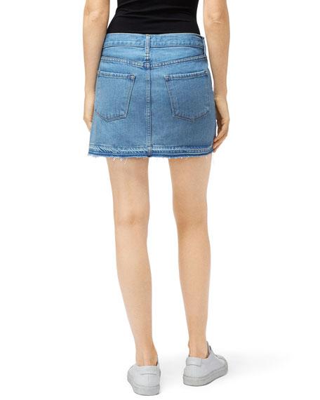 J Brand Bonny Mid-Rise Denim Mini Skirt w/ Released Hem