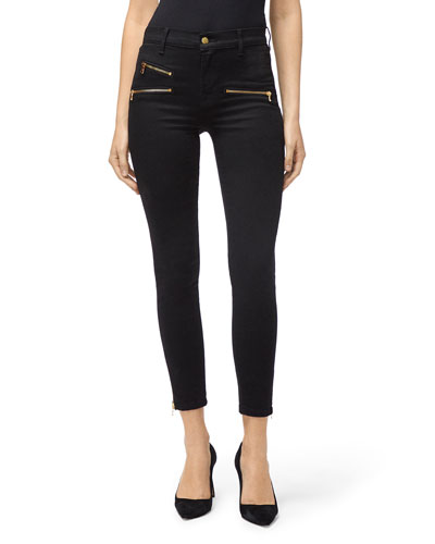 Alana Cropped High-Rise Skinny Jeans with Zippers