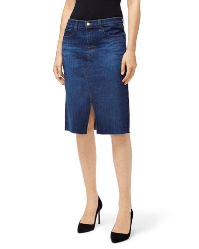 Trystan Front-Slit Denim Skirt