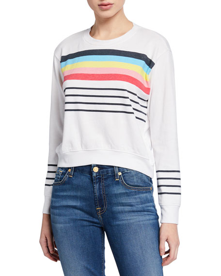Sundry Striped Blouson Cropped Sweatshirt
