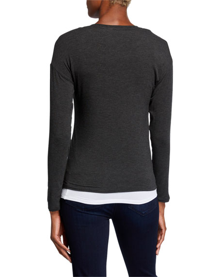 Majestic Filatures Double-Layer V-Neck Long-Sleeve Tee