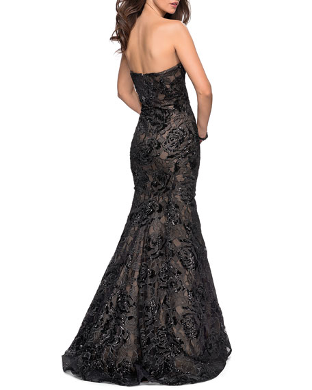 La Femme Sequin Strapless Mermaid Gown