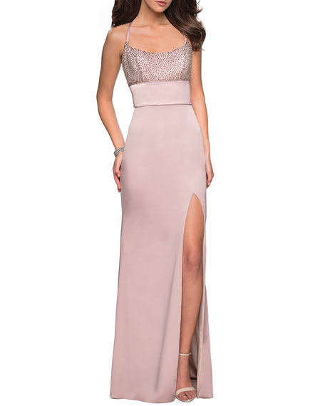 Image 1 of 2: La Femme Sleeveless Column Gown with Beaded Top & Thigh-Slit