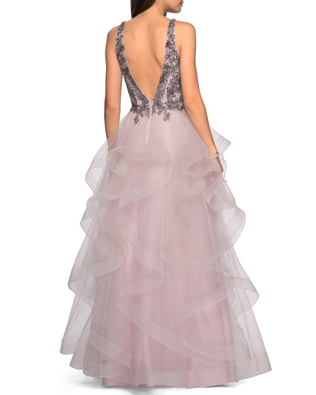 Image 2 of 2: La Femme Sleeveless A-Line Tulle Gown w/ Beaded Bodice & Deep V-Neck