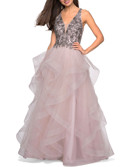 Image 1 of 2: La Femme Sleeveless A-Line Tulle Gown w/ Beaded Bodice & Deep V-Neck