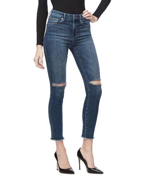 Good American Good Waist Crop Skinny Jeans w/ Frayed Hem - Inclusive Sizing