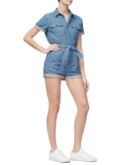 Good American Short-Sleeve Denim Romper - Inclusive Sizing