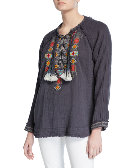 Johnny Was Plus Size Jonnie Lace-Up Long-Sleeve Embroidered Cotton Gauze Blouse