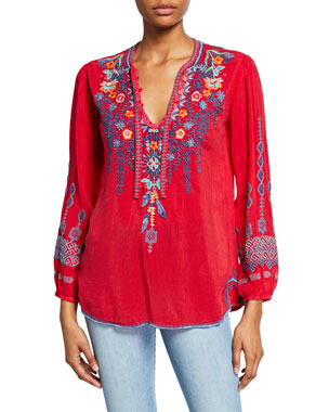 63c955ed450 Johnny Was Petite Chelsee Embroidered V-Neck Long-Sleeve Georgette Blouse