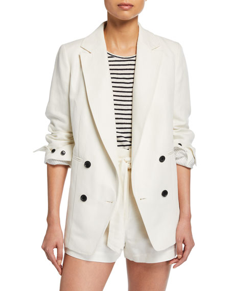 FRAME Double-Breasted Linen/Cotton Boyfriend Blazer