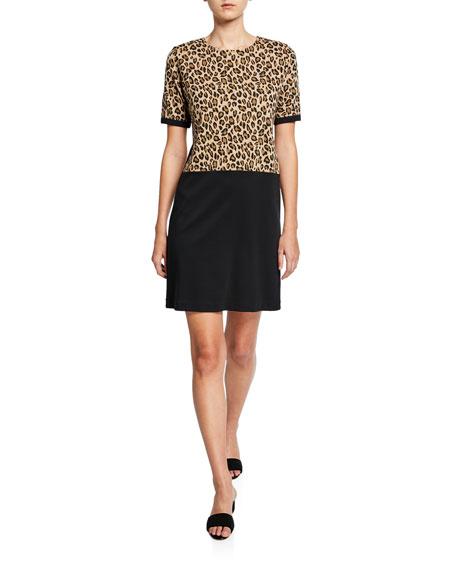 Joan Vass Colorblock Leopard Print Short-Sleeve Cotton Dress