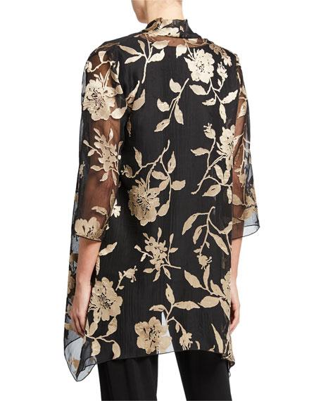 Caroline Rose Petite Sheer Floral Swing Jacket