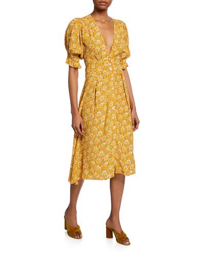 Rafa Floral-Print Midi Dress