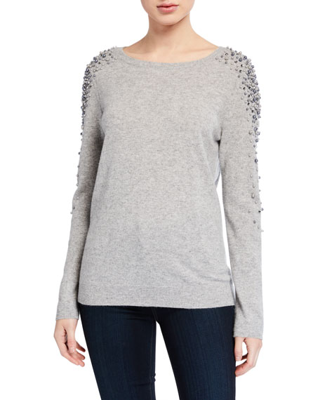 Neiman Marcus Cashmere Collection Cashmere Pearl Embellished Boat-Neck Sweater