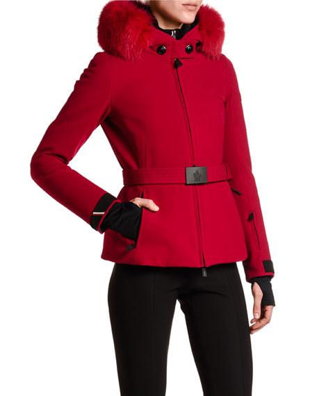 Moncler Bauges Belted Jacket w/ Fur Collar