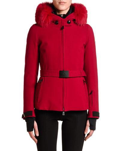 Bauges Belted Jacket w/ Fur Collar