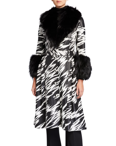 Image 3 of 4: Saks Potts Foxy-Print Long Lamb Leather Fox Fur-Trim Coat