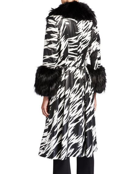 Image 4 of 4: Saks Potts Foxy-Print Long Lamb Leather Fox Fur-Trim Coat
