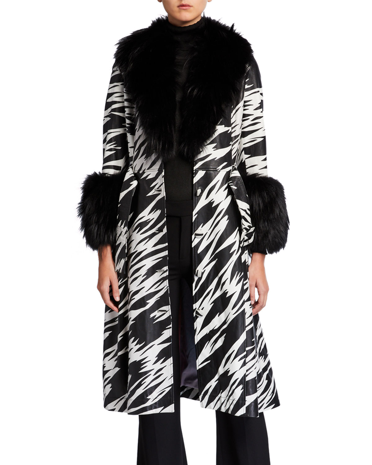 Saks Potts Foxy-Print Long Lamb Leather Fox Fur-Trim Coat