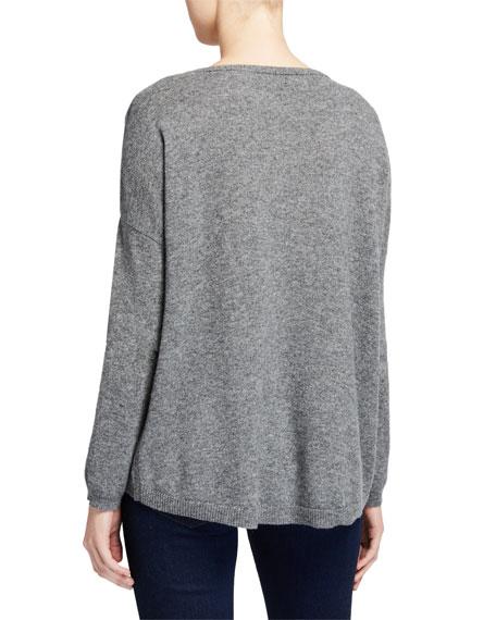 Neiman Marcus Cashmere Collection Embellished Stripe Bateau-Neck Cashmere Sweater