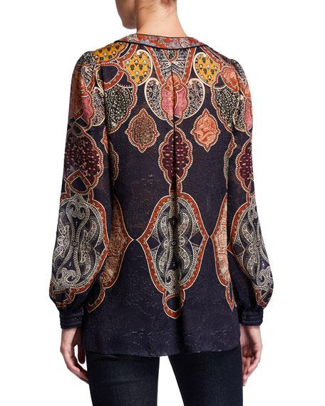 Elie Tahari Yosun Printed Tassel-Tie Long-Sleeve Silk Blouse