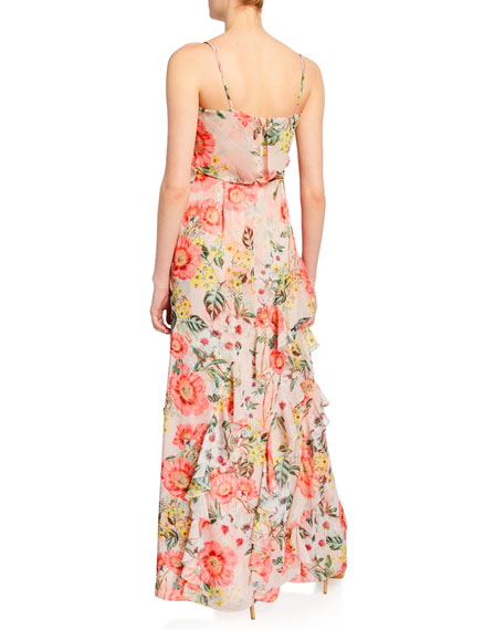 Parker Black Devany Floral Cowl-Neck Sleeveless Chiffon Gown with Ruffle Trim