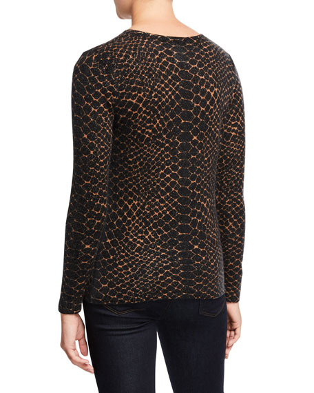 Neiman Marcus Cashmere Collection Snake-Print Crewneck Long-Sleeve Cashmere Sweater