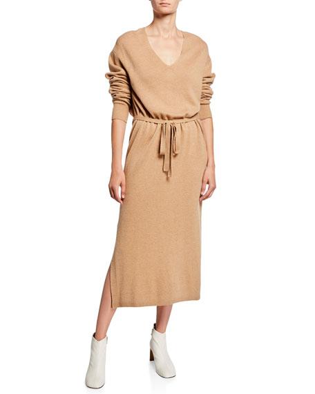 Vince V-Neck Long-Sleeve Side-Slit Midi Dress