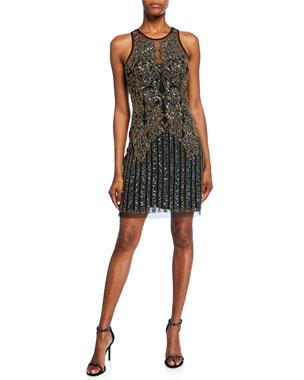 2051e167204 Aidan Mattox Beaded Sleeveless Jewel-Neck Short Shift Dress
