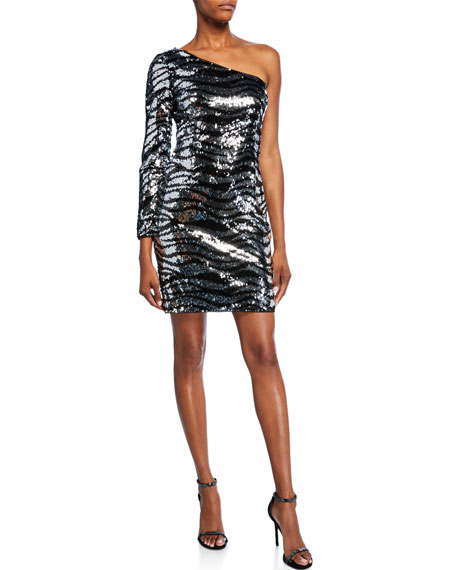 Image 1 of 3: Aidan by Aidan Mattox Sequin Zebra-Stripe One-Shoulder Cocktail Dress