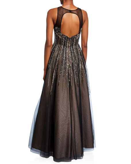 Aidan Mattox Bead Embellished High-Neck Sleeveless Ball Gown