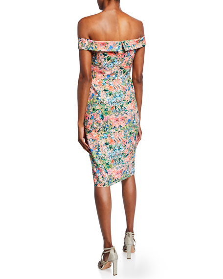 Aidan by Aidan Mattox Floral Off-the-Shoulder Short-Sleeve Crepe Dress with Slit