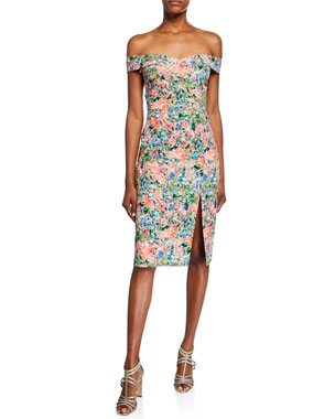 5b9ca006953 Aidan by Aidan Mattox Floral Off-the-Shoulder Short-Sleeve Crepe Dress with