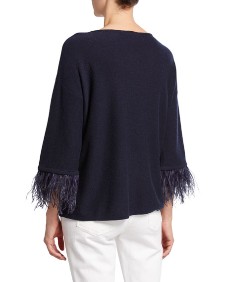 Neiman Marcus Cashmere Collection Cashmere Boat-Neck 3/4-Sleeve Sweater with Ostrich Feathers