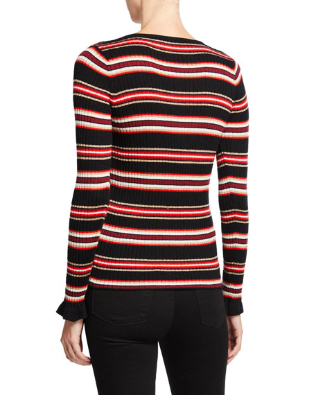 Neiman Marcus Cashmere Collection Metallic Striped V-Neck Long-Sleeve Superfine Cashmere Sweater
