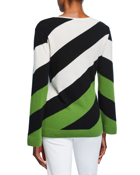 Neiman Marcus Cashmere Collection Cashmere Variegated Stripe Long-Sleeve Boat-Neck Sweater