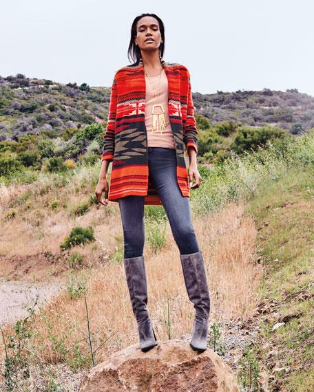 Neiman Marcus Cashmere Collection Navajo Stripe Open-Front Cashmere Cardigan