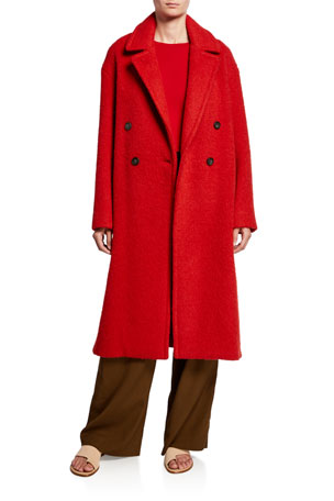 Vince Double-Breasted Alpaca Long Coat