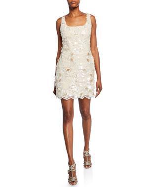 8198425d Aidan by Aidan Mattox Embroidered Sequin Sleeveless Mini Sheath Dress.  Favorite. Quick Look