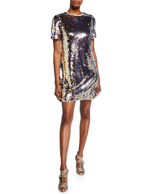 d8481bcad36 Aidan by Aidan Mattox Sequin Short-Sleeve Mini Shift Dress